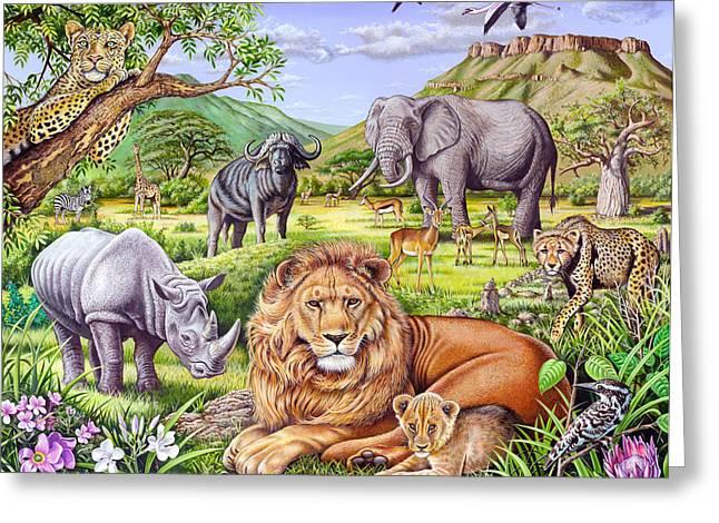 Dinosaur Greeting Cards - Saharan Animal Gathering Greeting Card by Mark Gregory