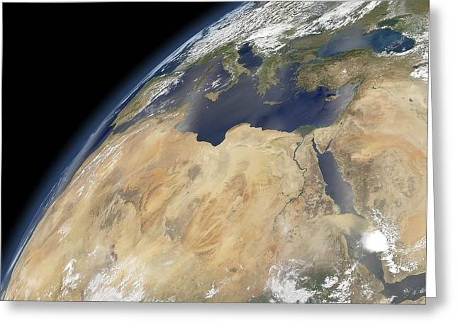 Arabian; Arabia; Middle East; Middle Eastern; Landscape; Desert; Horses; Horse; Mountains; Horse Greeting Cards - Saharan Mediterranean, satellite image Greeting Card by Science Photo Library