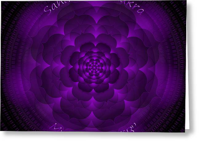 Chakra Rainbow Digital Greeting Cards - Sahasrara Chakra Greeting Card by Sarah  Niebank