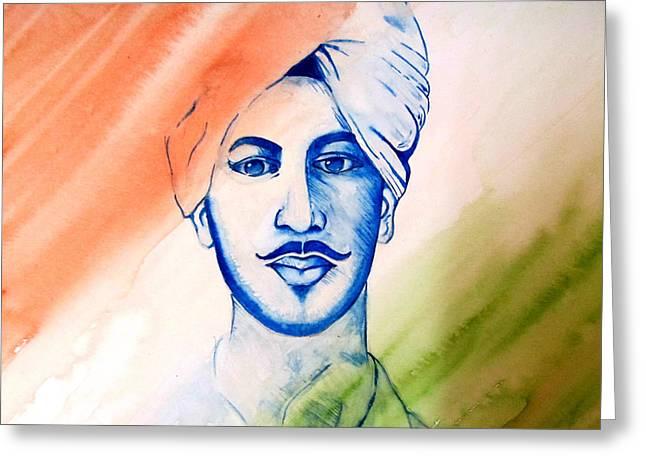 Bhagat Greeting Cards - Saheed Greeting Card by Gopal Maheshwari