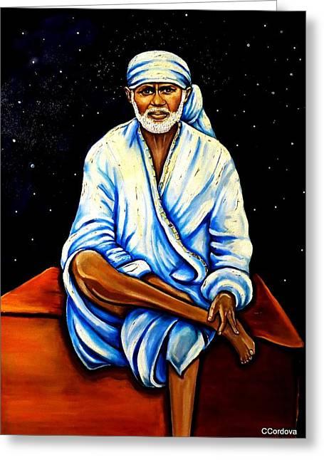 Indian Guru Greeting Cards - Sai Baba Greeting Card by Carmen Cordova