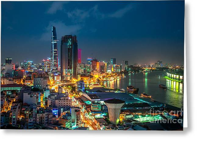 Developing Countries Greeting Cards - Saigon Aerial Night Skyline Greeting Card by Fototrav Print