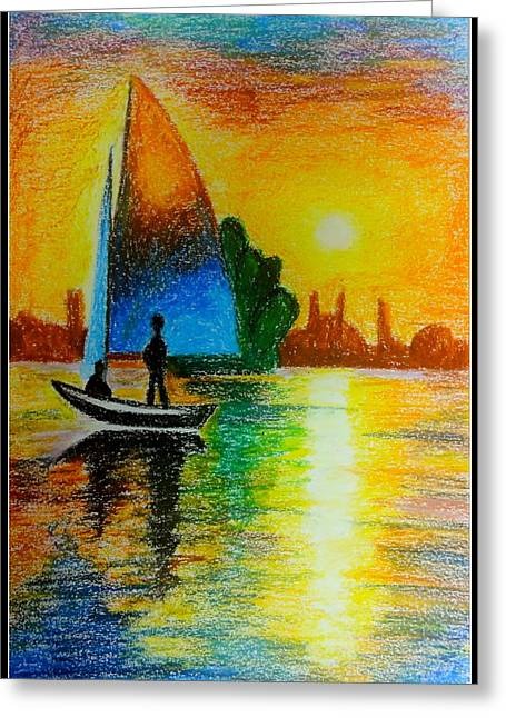Masts Pastels Greeting Cards - Sail Across Greeting Card by Tanya Anurag