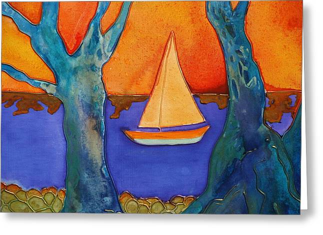 Masts Mixed Media Greeting Cards - Sail Away Greeting Card by Antoinette  Andersen