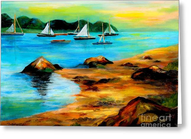 Maine Beach Paintings Greeting Cards - Sail Away Greeting Card by Larry Martin