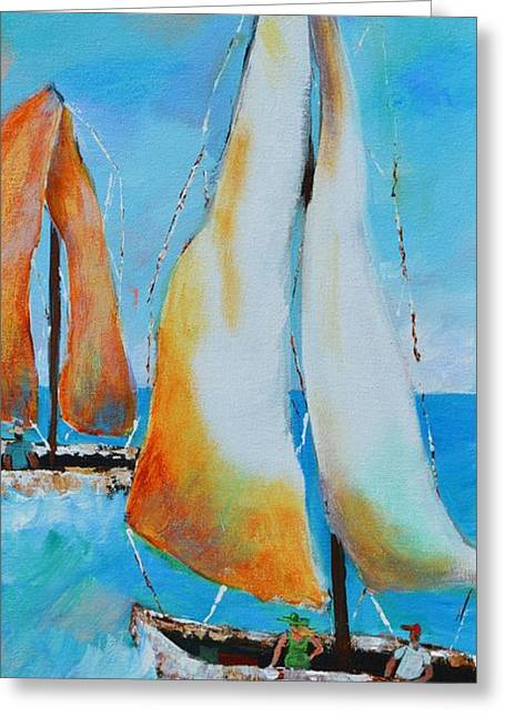 Sailboat Ocean Greeting Cards - Sailing2 Greeting Card by Lynn Rattray