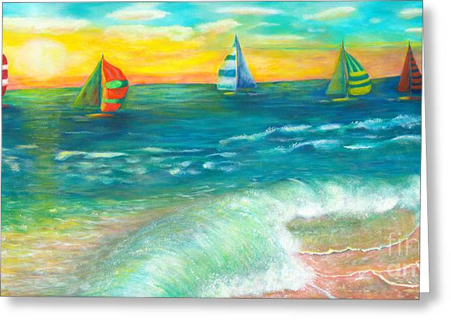 Blue Green Wave Greeting Cards - Sail Away Greeting Card by Robin Grace