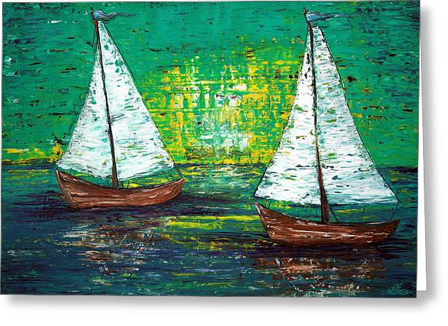Sailing Ship Mixed Media Greeting Cards - Sail Away With Me Greeting Card by Laura Barbosa