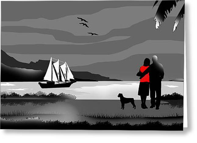 White Digital Greeting Cards - Sail Away With Me To Another World Greeting Card by Peter Stevenson