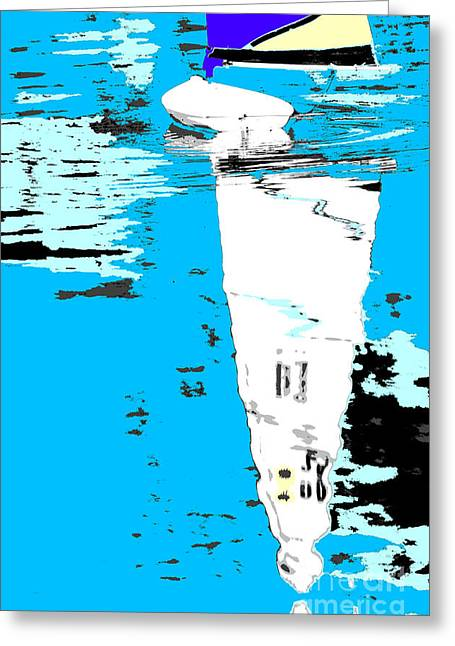 Blue Sailboat Mixed Media Greeting Cards - Sail Boat Abstract Pop Art Poster Greeting Card by Adspice Studios