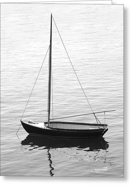 Setting Digital Art Greeting Cards - Sail Boat in Maine Greeting Card by Mike McGlothlen