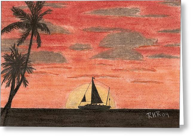 Tropical Pastels Greeting Cards - Sail Boat in the Sunset Greeting Card by Ray Ratzlaff