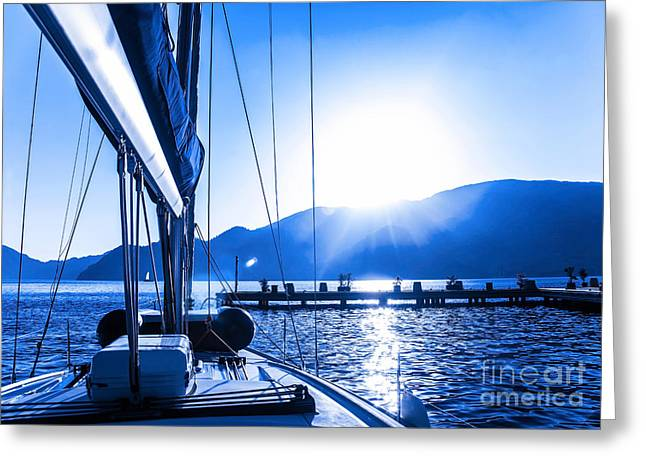 Boat Cruise Greeting Cards - Sail boat on the water Greeting Card by Anna Omelchenko