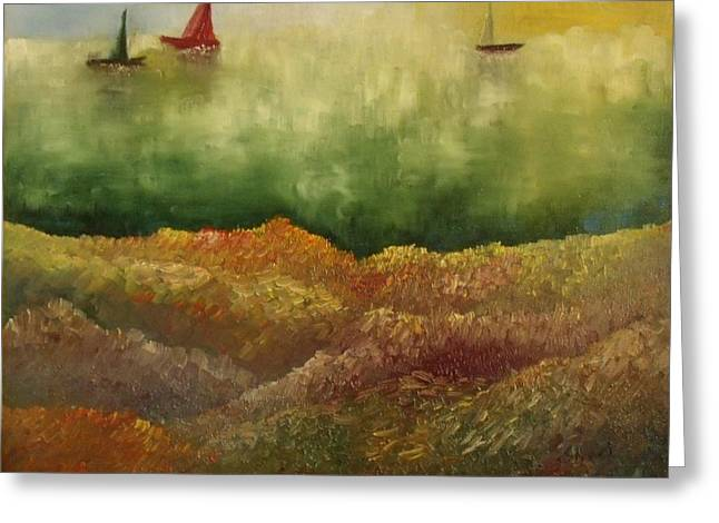 Shesh Tantry Greeting Cards - Sail Boats II Greeting Card by Shesh Tantry
