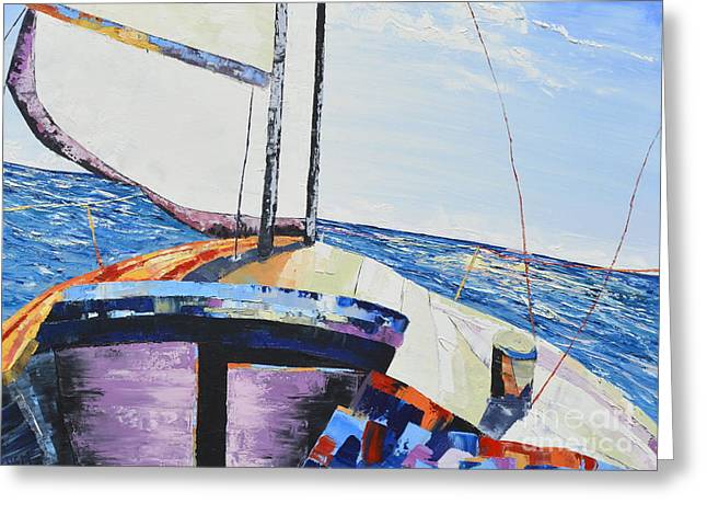 Pallet Knife Greeting Cards - Sail Greeting Card by David Sigel