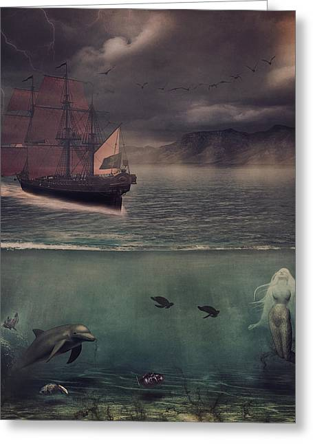 Sail Into Dusk Greeting Card by Kim Zier