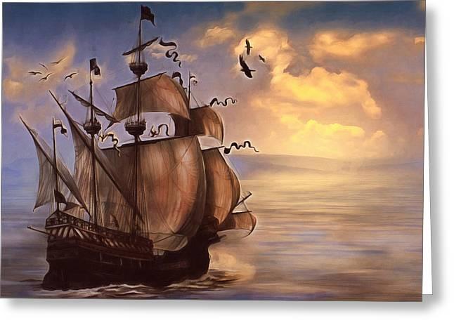 My Ocean Greeting Cards - Sail Into My Dreams Vintage Greeting Card by Georgiana Romanovna