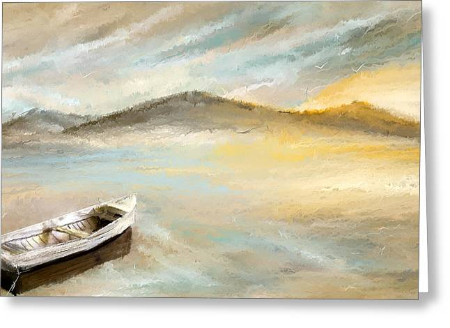 Blues And Yellows Greeting Cards - Sail Into The Sun Greeting Card by Lourry Legarde