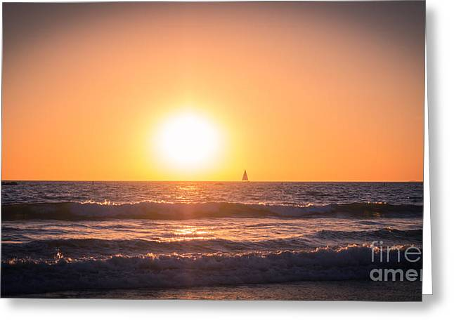 Ocean Photography Greeting Cards - Sail Into The Sunset Greeting Card by Julie Clements