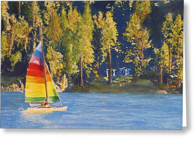 Schooner Pastels Greeting Cards - Sail on Greeting Card by Don Thomas
