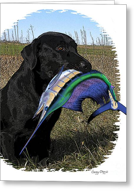 Wildlife Digital Art Greeting Cards - Sail Retriever  Greeting Card by Carey Chen