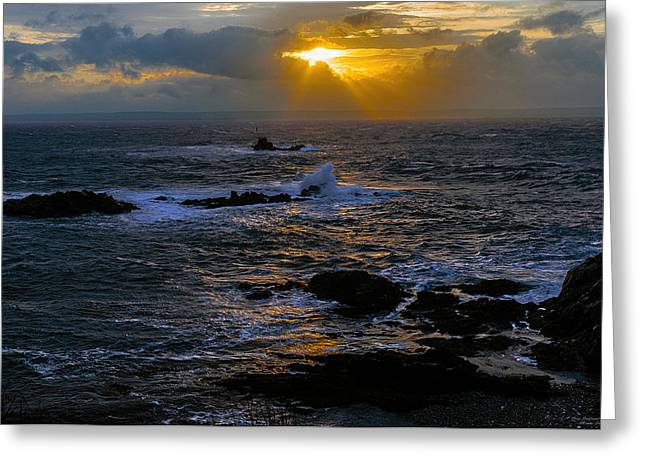 Lubec Greeting Cards - Sail Rock Sunrise Greeting Card by Marty Saccone
