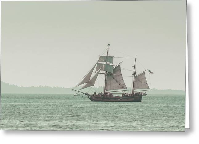 Fishing Boat Greeting Cards - Sail Ship 2 Greeting Card by Lucid Mood