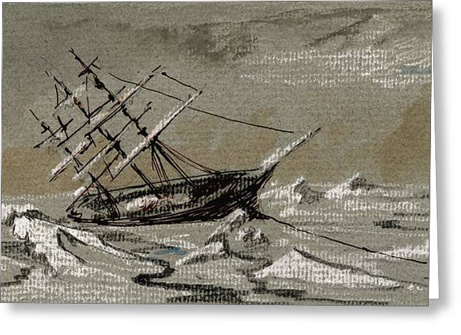 Arctic Greeting Cards - Sail ship arctic Greeting Card by Juan  Bosco