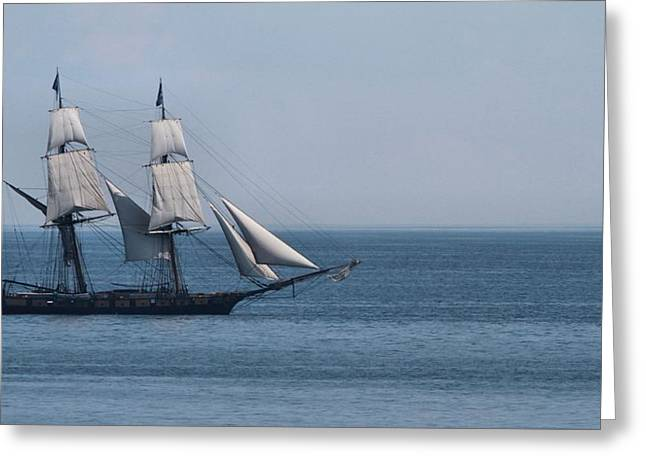 Mackinaw City Greeting Cards - Sail Ship On The Straits Of Mackinac Greeting Card by Dan Sproul