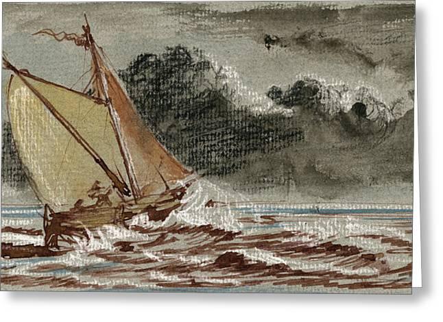 Sail-ship Greeting Cards - Sail ship stormy sea Greeting Card by Juan  Bosco