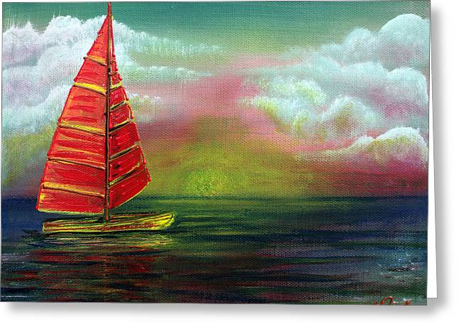 Ocean. Reflection Greeting Cards - Sail The Horizon Greeting Card by Laura Barbosa