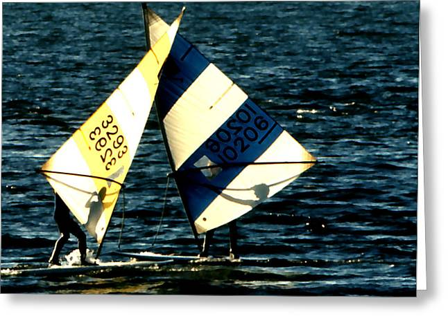 Sailboarding Greeting Cards - Sailboarders in Silhouette Greeting Card by Robert  Rodvik
