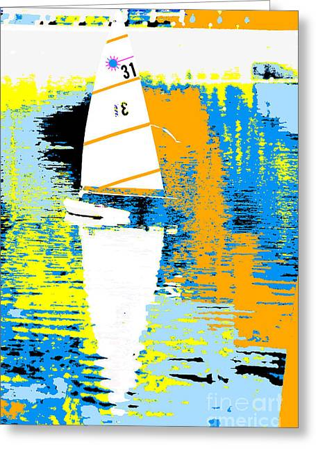 Clean Water Mixed Media Greeting Cards - Sailboat Abstract Pop Art Greeting Card by Adspice Studios