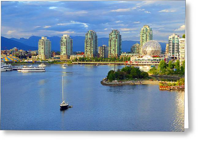 Yaletown Greeting Cards - Sailboat and Science World Greeting Card by Laurie Tsemak