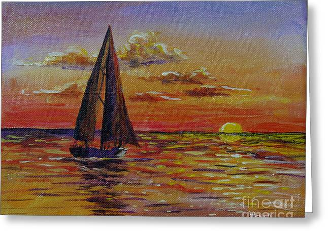 Seacape Greeting Cards - Sailboat and Siesta Key Sunset Greeting Card by Lou Ann Bagnall
