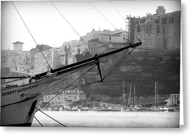Yellow Sailboats Greeting Cards - Sir Robert Sail boat in black and white in the stunning port mahon - Menorca - sailboat and the city Greeting Card by Pedro Cardona