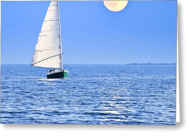 Sailboat at full moon Greeting Card by Elena Elisseeva
