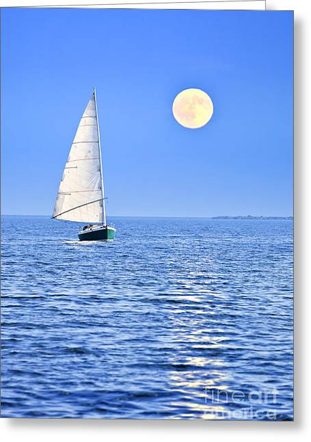 Blue Sailboat Greeting Cards - Sailboat at full moon Greeting Card by Elena Elisseeva
