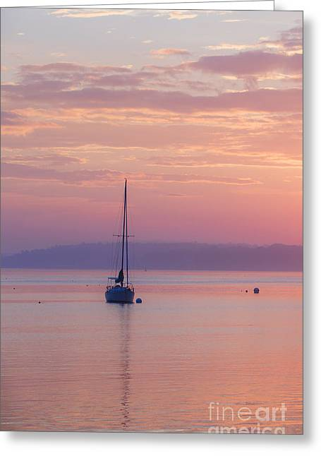 Sailboat Ocean Greeting Cards - Sailboat at Sunrise in Casco Bay Maine Greeting Card by Diane Diederich