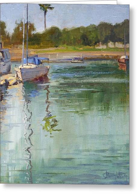 Boats At Dock Greeting Cards - Sailboat at the End of the Dock Greeting Card by Sharon Weaver
