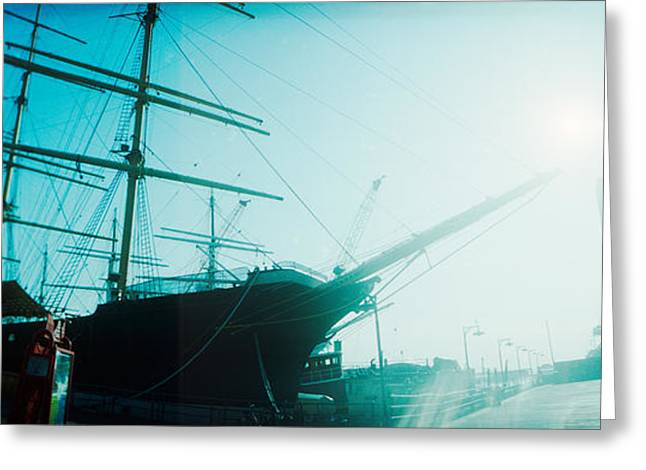 Sailboat Images Greeting Cards - Sailboat At The Port, South Street Greeting Card by Panoramic Images
