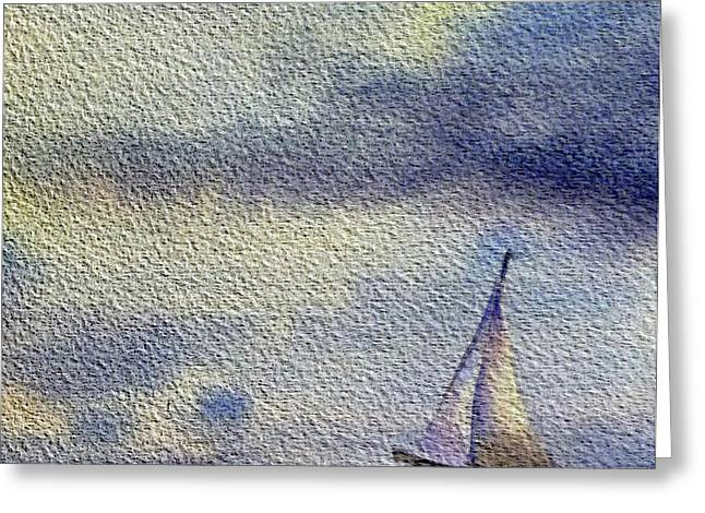 Blue Sailboat Greeting Cards - Sailboat At The Sea Greeting Card by Irina Sztukowski