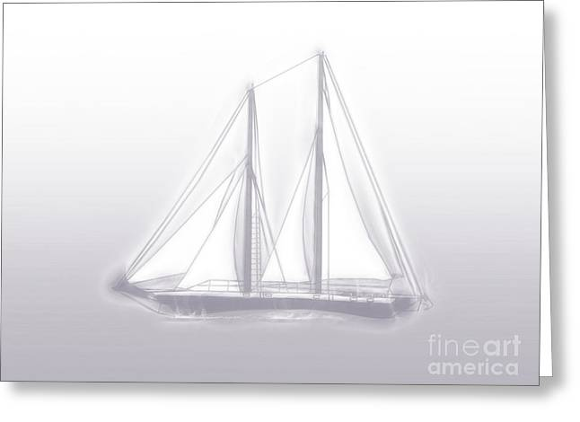 Sailboat Art Greeting Cards - Sailboat Background Lavender Greeting Card by Methune Hively