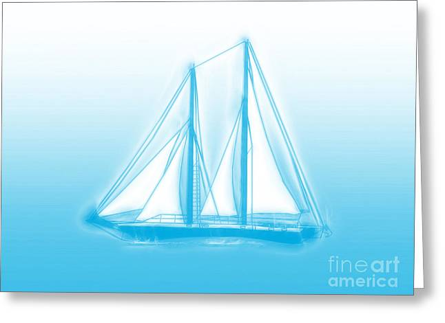 Sailboat Art Greeting Cards - Sailboat Background Greeting Card by Methune Hively