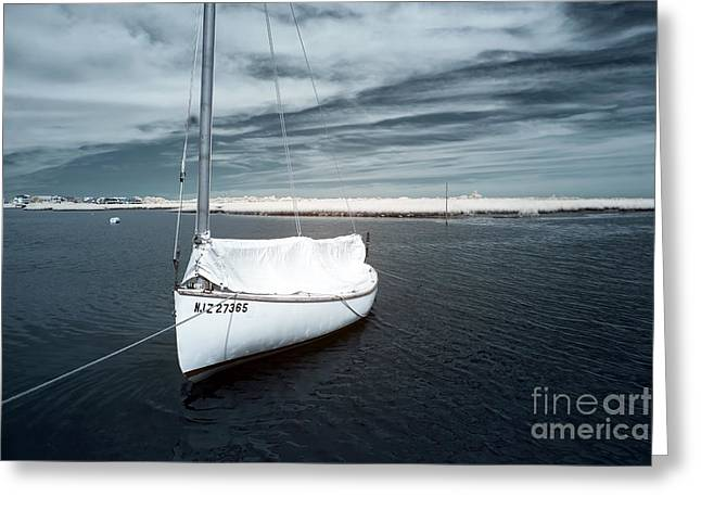 Sailboat Art Greeting Cards - Sailboat blue infrared Greeting Card by John Rizzuto
