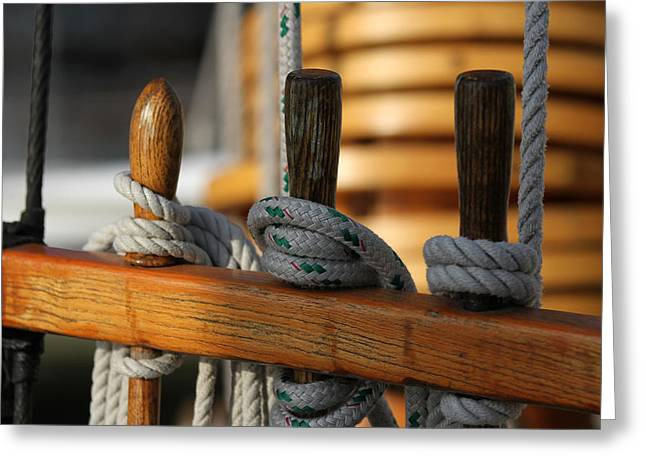 Wooden Ship Greeting Cards - Sailboat Bollards Greeting Card by Juergen Roth