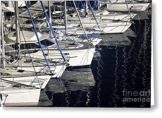 Sailboats Docked Greeting Cards - Sailboat Bow Greeting Card by John Rizzuto
