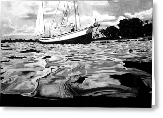 Sailboats In Water Drawings Greeting Cards - Sailboat by shore Greeting Card by Jason Dunning