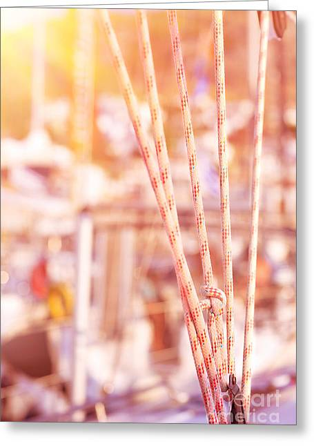 Pull Cord Greeting Cards - Sailboat detail Greeting Card by Anna Omelchenko