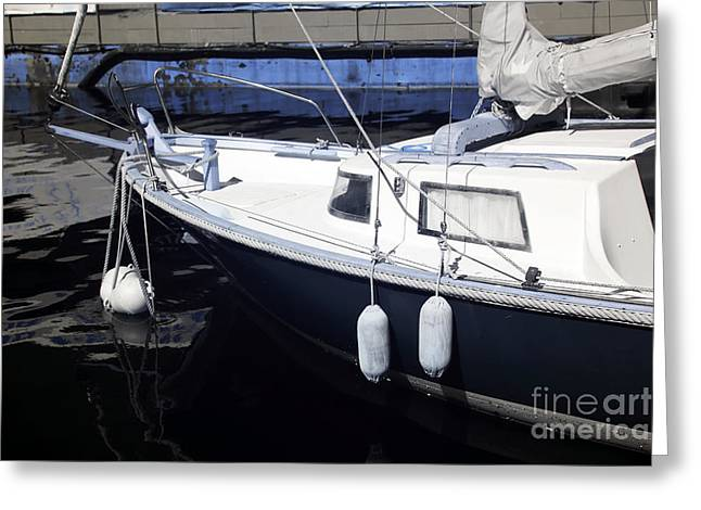 Docked Sailboats Photographs Greeting Cards - Sailboat Dock Greeting Card by John Rizzuto